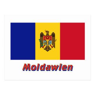Moldawien Flagge mit Namen Postcard
