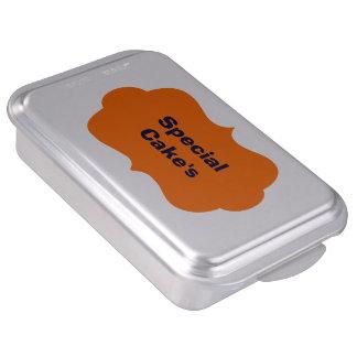 Molde para pasteles con la etiqueta anaranjada