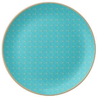 Moldeado hinchado de la aguamarina y acolchado plato de cerámica