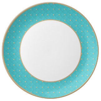 Moldeado hinchado de la aguamarina y acolchado platos de cerámica