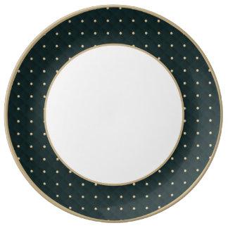 Moldeado hinchado del verde caqui y acolchado platos de cerámica