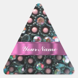 Moldeado rosado perrsonalized pegatina triangular