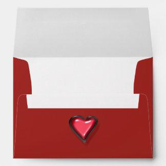 Molded Plastic Red Heart envelope