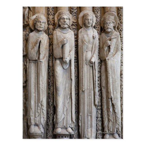 moldes de estatuas de la fachada de Chartres Tarjeta Postal