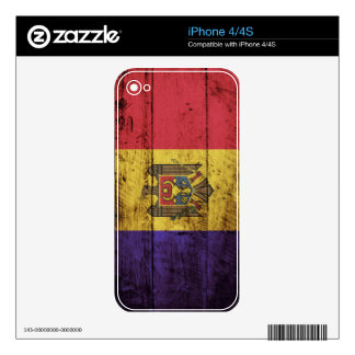 Moldova Flag on Old Wood Grain Skin For The iPhone 4