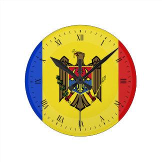Moldova Flag Round Clock