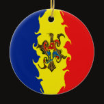 Moldova Gnarly Flag Ceramic Ornament
