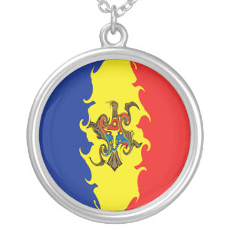 Moldova Gnarly Flag Silver Plated Necklace