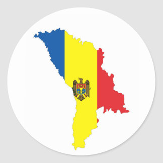 moldova republic country flag map shape symbol classic round sticker