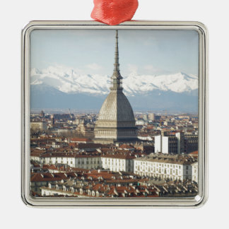 Mole Antonelliana in Turin Italy seen from the hil Metal Ornament
