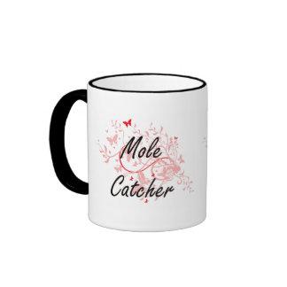 Mole Catcher Artistic Job Design with Butterflies Ringer Mug
