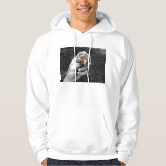 mole in hand against grass colorized.jpg hooded sweatshirt