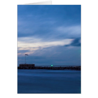 Mole in Warnemuende at night Greeting Card