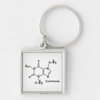 Molécula de Caffiene (estructura química) Llavero Cuadrado Plateado