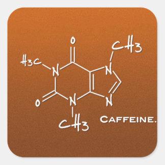Molécula de Caffiene (estructura química) Pegatina Cuadrada
