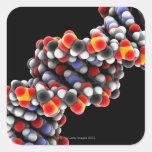 Molécula de la DNA. Modelo molecular de la DNA Pegatina Cuadrada