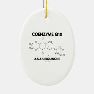 Molécula de la sustancia química de la ubiquinona adorno navideño ovalado de cerámica