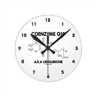 Molécula de la sustancia química de la ubiquinona reloj redondo mediano