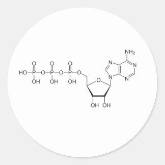 Molécula del ATP Pegatina Redonda