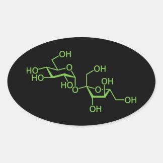 Molécula del azúcar de sucrosa pegatina óval