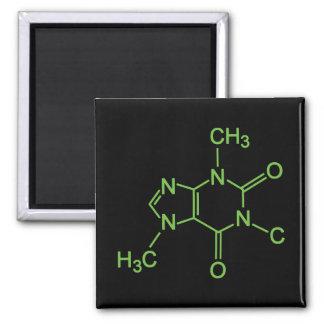 Molécula del café del cafeína imán cuadrado