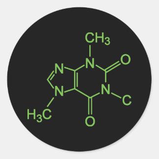 Molécula del café del cafeína etiqueta redonda