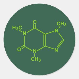 Molécula del cafeína etiquetas redondas