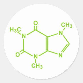 Molécula del cafeína pegatinas redondas