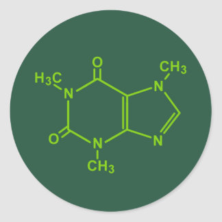 Molécula del cafeína pegatina redonda