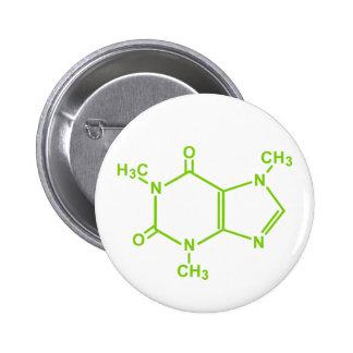Molécula del cafeína pin redondo 5 cm