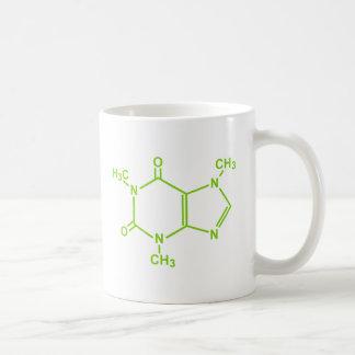 Molécula del cafeína taza básica blanca