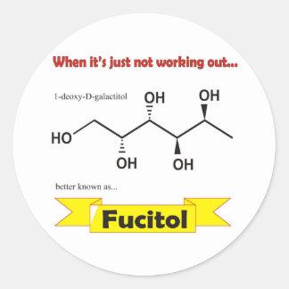 Molécula orgánica de Fucitol Pegatina Redonda