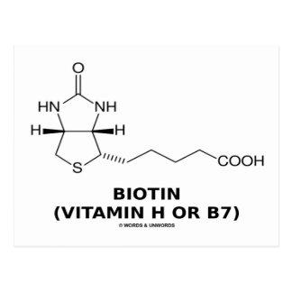 Molécula química de la biotina (vitamina H o B7) Postal