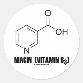Molécula química de la niacina vitamina B3 Pegatina Redonda