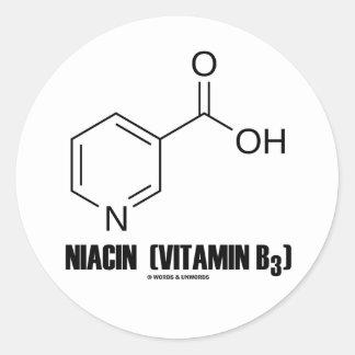 Molécula química de la niacina vitamina B3 Etiqueta