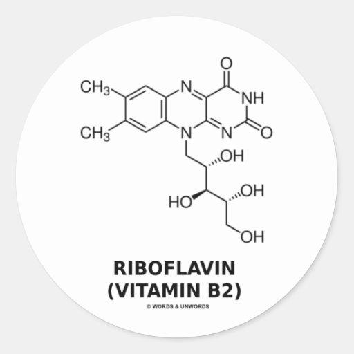 Molécula química de la riboflavina (vitamina B2) Pegatina Redonda