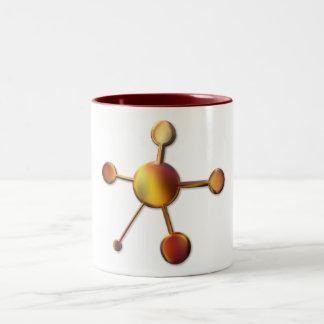 Molécula roja lisa del metal tazas
