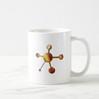 Molécula roja lisa del metal tazas de café
