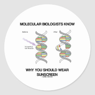 Molecular Biologists Know Why You Wear Sunscreen Classic Round Sticker