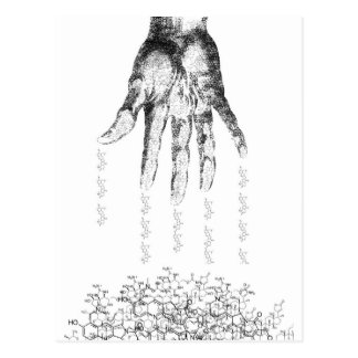 molecular hand postcard