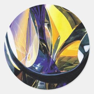 """Molecular Mosaic"" Art Glass Watercolor Classic Round Sticker"
