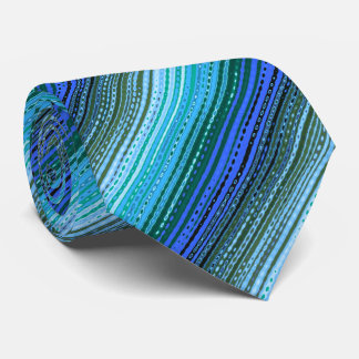 Molecule Variegated Striped Blue & Olive Two-sided Tie