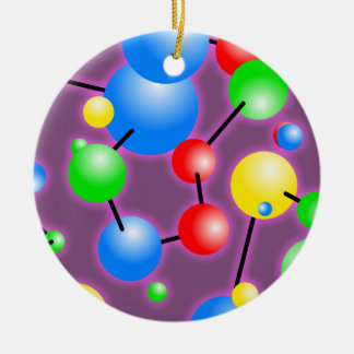 Molecule Wallpaper Double-Sided Ceramic Round Christmas Ornament