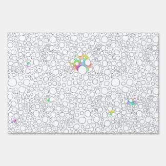 Molecules cells circles fun patterned painting yard signs