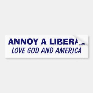 Moleste a un liberal - dios y América del amor Etiqueta De Parachoque