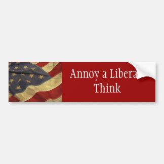 Moleste a un liberal: Piense Pegatina Para Auto
