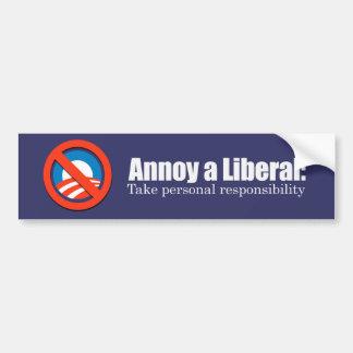 Moleste a un liberal - tome la responsabilidad Bum Etiqueta De Parachoque