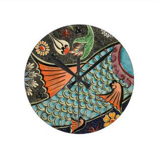 Molestia de los pescados del mosaico reloj redondo mediano