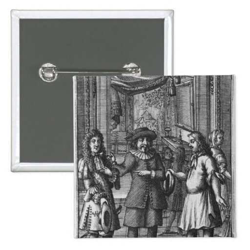 Moliere as Harpagon, frontispiece illustration Pinback Buttons
