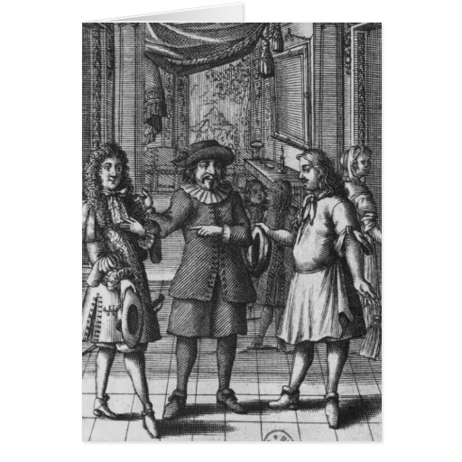 Moliere as Harpagon, frontispiece illustration Greeting Cards